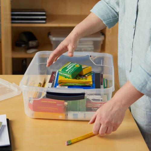Rubbermaid Cleverstore 16 Quart Plastic Storage Tote Container with Lid (6 Pack) Perspective: right
