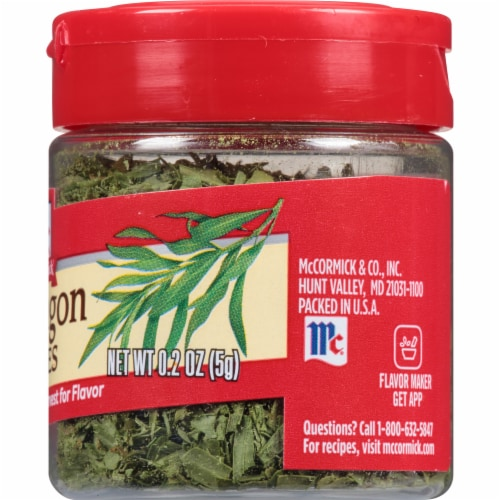 McCormick Tarragon Leaves Shaker Perspective: right