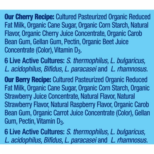 Stonyfield Organic Kids Berry & Cherry Lowfat Yogurt Tubes 8 Count Perspective: right