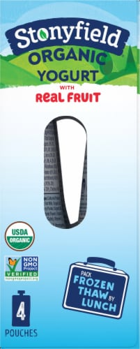 Stonyfield Organic Kids Lowfat Strawberry Banana Yogurt Pouches 4 Count Perspective: right