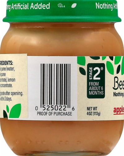Beech-Nut Stage 2 Apple Baby Food Jar Perspective: right
