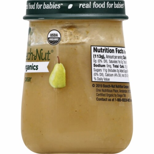 Beech-Nut Organics Pear Stage 1 Baby Food Perspective: right