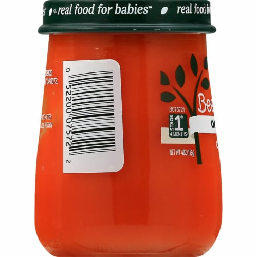 Beech-Nut Organics Stage 1 Carrots Baby Food Jar Perspective: right