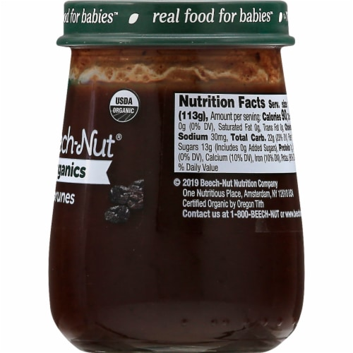Beech-Nut Organics Prunes Stage 1 Baby Food Perspective: right