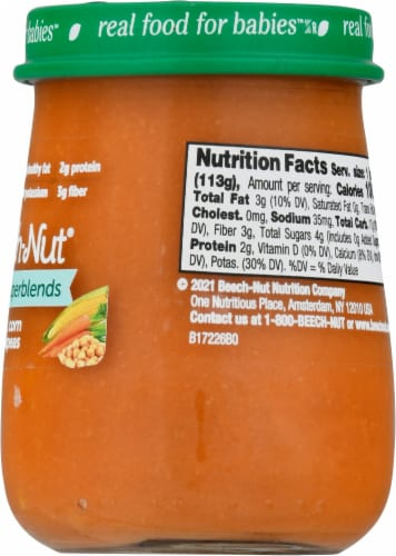 Beech-Nut Naturals Superblends Carrot Corn Chickpea Baby Food Jar Perspective: right