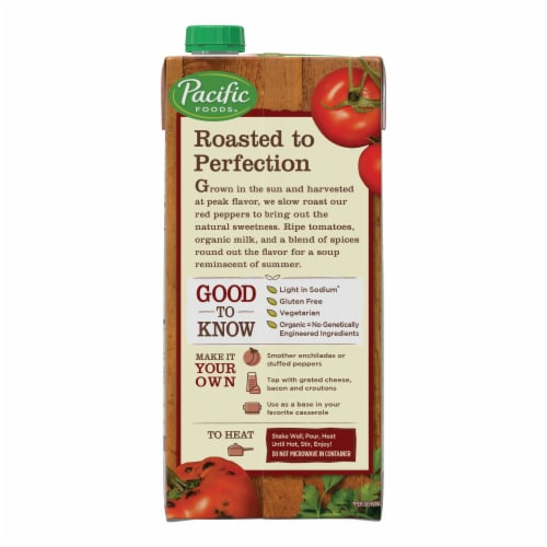 Pacific Foods Organic Light in Sodium Roasted Red Pepper & Tomato Soup Perspective: right