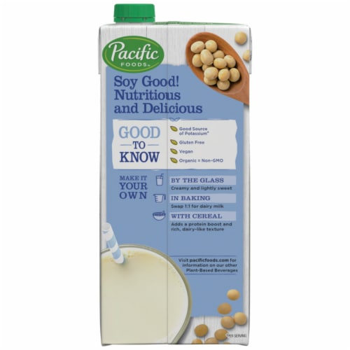 Pacific Foods Organic Soy Original Unsweetened Plant-Based Beverage Perspective: right