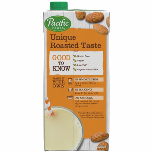 Pacific Foods Organic Almond Plant-Based Beverage Perspective: right