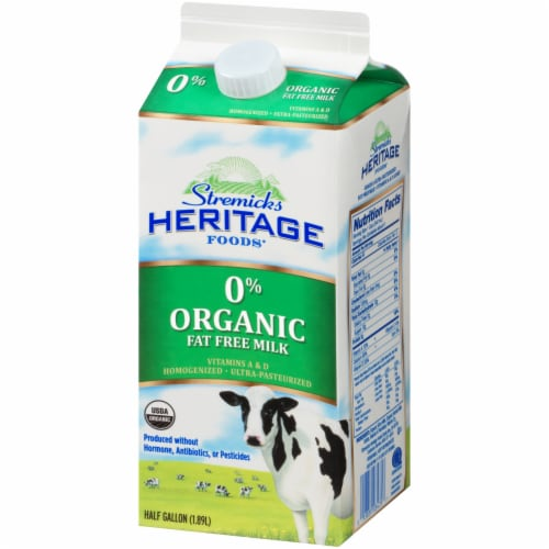 Stremicks Heritage Foods Organic 0% Fat Free Milk Perspective: right