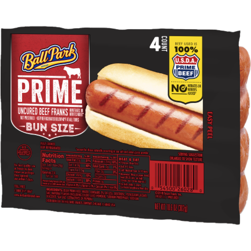 Ball Park Prime Beef Hot Dogs Bun Size Length 4 Count Perspective: right