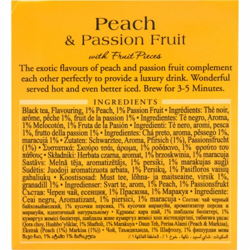 Peach & Passion Fruit Flavoured Black Tea Bags Perspective: right