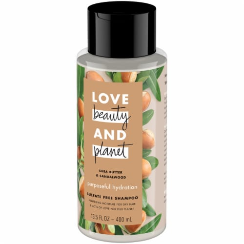 Love Beauty & Planet Shea Butter & Sandalwood Hydrating Shampoo Perspective: right