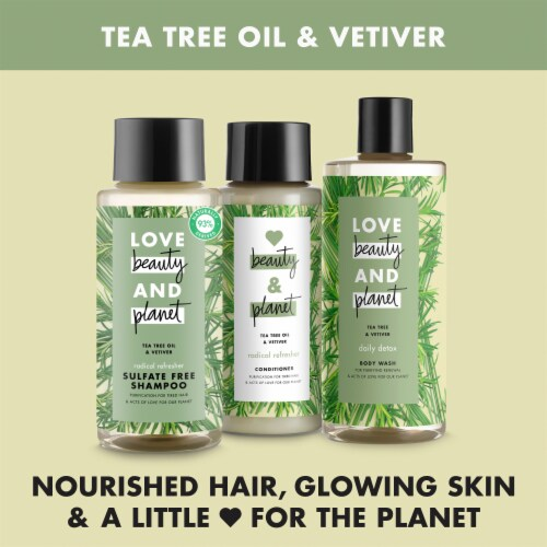 Love Beauty and Planet Radical Refresher Tea Tree Oil & Vetiver Shampoo Perspective: right