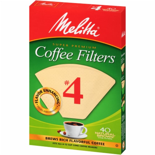 Melitta #4 Paper Cone Coffee Filters - Natural Brown Perspective: right