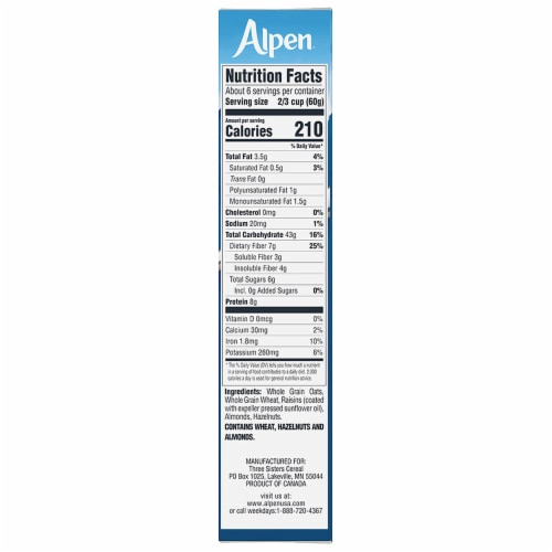 Alpen No Sugar Added Muesli Cereal Perspective: right