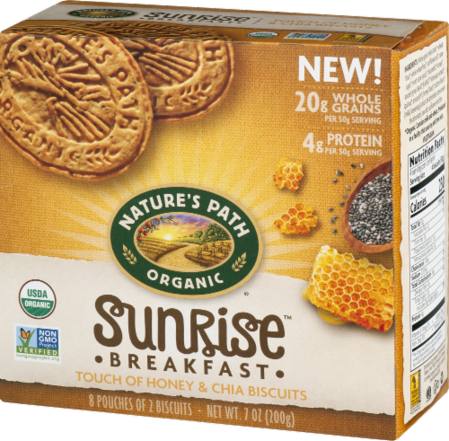 Nature's Path Organic Sunrise Honey & Chia Breakfast Biscuits Perspective: right