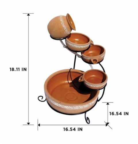 Koolscape 5-Tier Solar-Powered Cascading Fountain - Natural Terracotta Perspective: right
