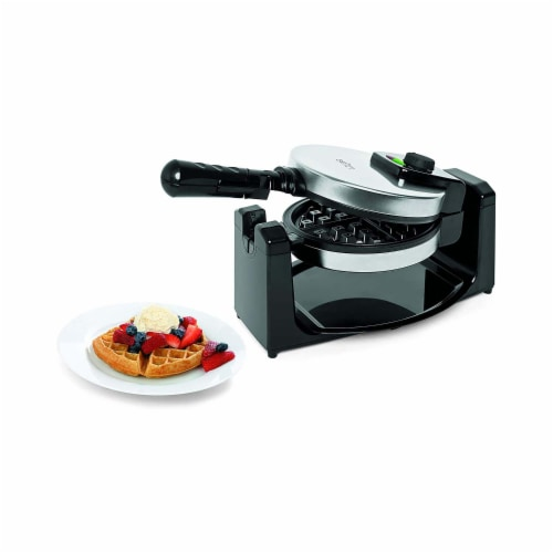 Salton WM1082 Countertop Rotary Belgian Waffle Maker, Stainless Steel/Black Perspective: right