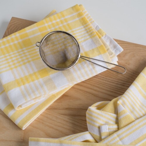 Now Designs Extra Large Wovern Cotton Kitchen Dish Towels Lemon Yellow Set of 3 Perspective: right