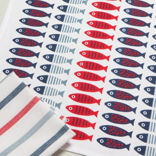 Now Designs 100% Cotton Woven Printed Kitchen Dish Towels Little Fish Set of 2 Perspective: right