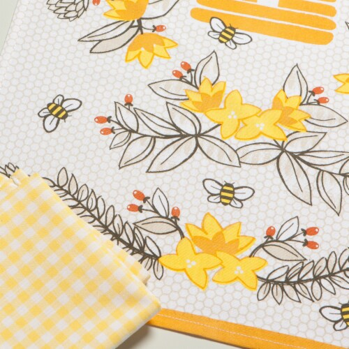 Now Designs 100% Cotton Woven Bee Print Kitchen Dish Towels Perspective: right