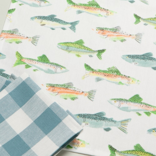Now Designs Gone Fishin 100% Cotton Woven Printed Kitchen Dish Towels Perspective: right