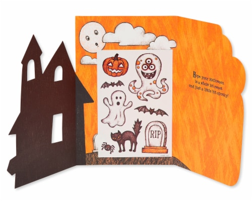 American Greetings Halloween Card with Stickers (Haunted House) Perspective: right