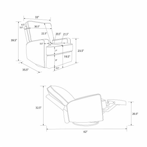 Baby Relax Rylan Swivel Glider Recliner Chair, Coil Seating, Beige Perspective: right