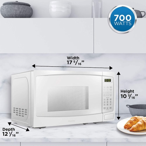Danby 700W 0.7 Cubic Feet Convenient User-Friendly Countertop Microwave, White Perspective: right