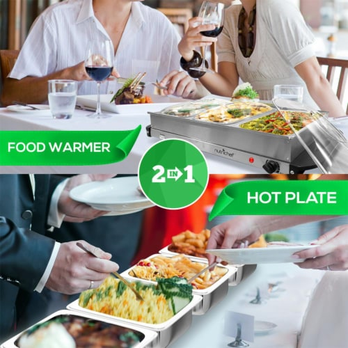 Nutrichef PKBFWM33 NutriChef Electric 3 Tray Buffet Server Hot Plate Food Warmer Perspective: right