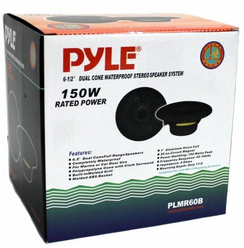 "2) NEW PYLE PLMR60B 6.5"" 150W Marine/Boat Dual Cone Waterproof Speakers PAIR Perspective: right"