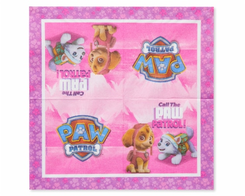American Greetings Paw Patrol Pink Disposable Paper Lunch Napkins Perspective: right