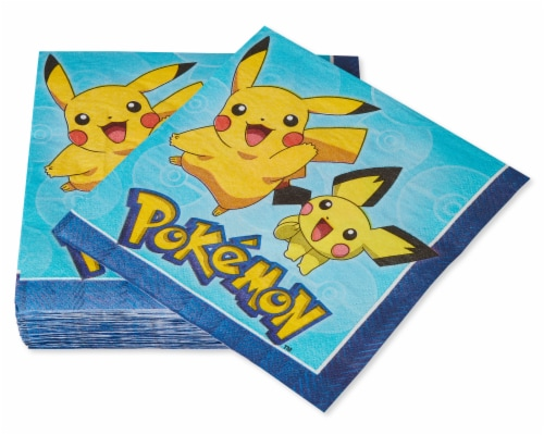 American Greetings Pokemon Disposable Paper Lunch Napkins Perspective: right