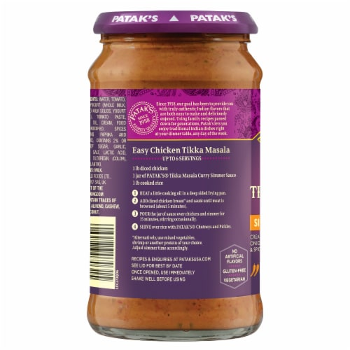Patak's Tikka Masala Curry Simmer Sauce Perspective: right