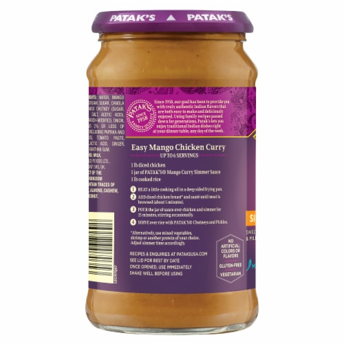 Patak Mild Mango Curry Sauce Perspective: right