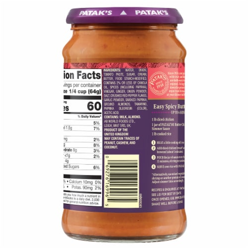 Patak's Spicy Butter Chicken Curry Indian Simmer Sauce - Spicy Perspective: right