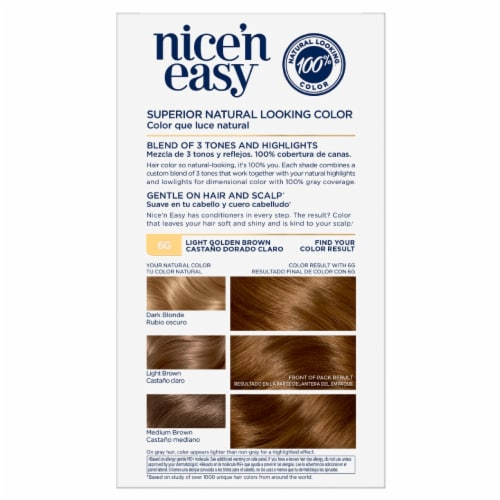 Clairol Natural Looking Nice'n Easy Permanent 6G Light Golden Brown Color Perspective: right