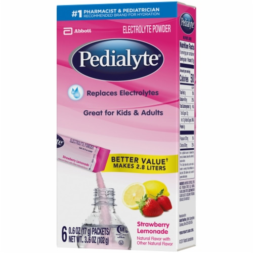 Pedialyte Strawberry Lemonade Electrolyte Solution Powder Packs Perspective: right
