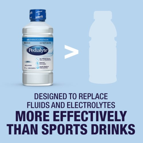 Pedialyte Unflavored Ready-to-Drink Electrolyte Solution Perspective: right