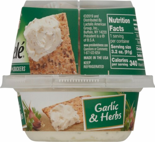 President Rondele Garlic & Herbs Spreadable Cheese with Crackers Perspective: right