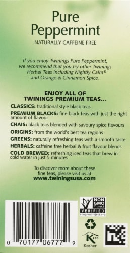 Twinings of London Pure Peppermint Herbal Tea Bags Perspective: right