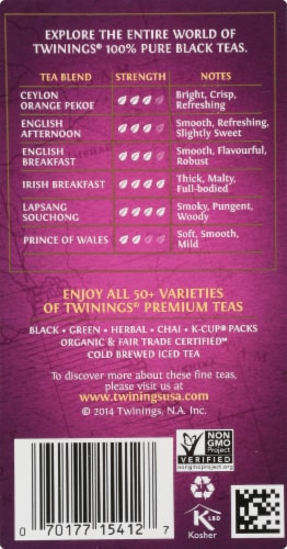 Twinings Of London Darjeeling Pure Black Tea Bags Perspective: right