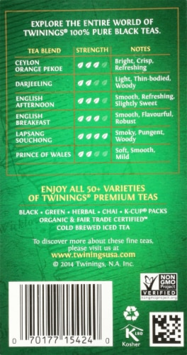 Twinings Of London Irish Breakfast Pure Black Tea Bags Perspective: right