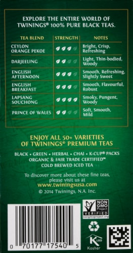 Twining's Decaffeinated Irish Breakfast Black Tea Bags 20 Count Perspective: right