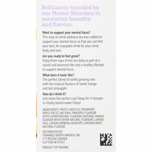 Twinings of London Focus Ginseng Mango & Pineapple Tea Bags Perspective: right