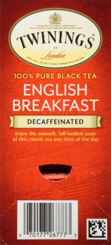 Twinings of London Decaffeinated English Breakfast Pure Black Tea Bags 25 Count Perspective: right