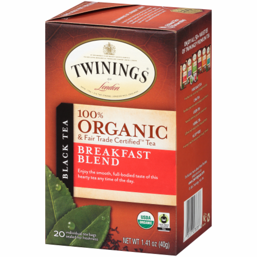 Twinings Of London Organic Breakfast Blend Black Tea Bags Perspective: right