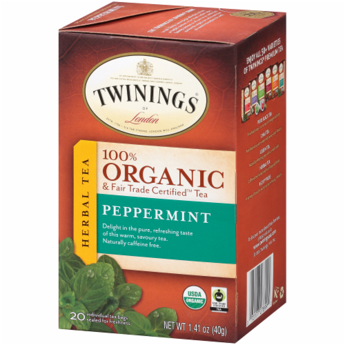 Twinings Of London Organic Peppermint Herbal Tea Bags Perspective: right
