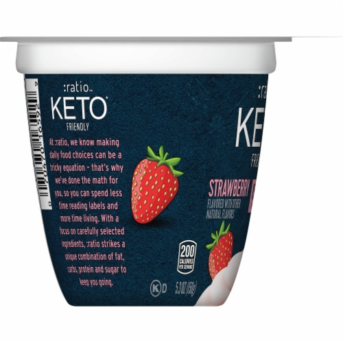 Ratio Keto Friendly Strawberry Dairy Snack Perspective: right
