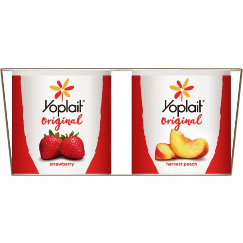 Yoplait Original Strawberry & Harvest Peach Gluten-Free Low Fat Yogurt Variety Pack Perspective: right